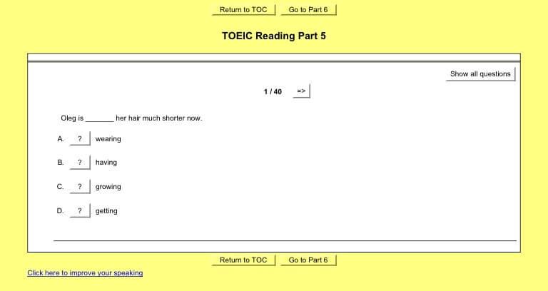 ตัวอย่าง ข้อสอบโทอิค พารท์ 5